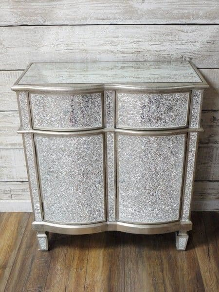 Crackle Mirrored 2 Drawer Cabinet Silver Sparkly Broken Glass